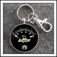 Vintage Chevy Chevrolet Oil Pressure Gauge photo keychain Rat Rod Gauge Pendant