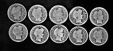 1896,'98,'99-o thru 1916 Barber Head .900 silver dime lot 10 coins