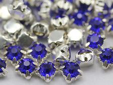 6mm SS30 Blue Sapphire Crystal Sew On Rhinestone Rose Montee Beads 25 PCS