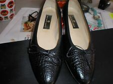 Saks Fifth Avenue Womens US 11 M  Leather Ballet Italy BLACK Flats HANDCRAFTED