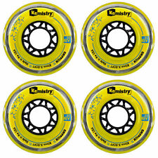 Tour Kemistry Inline Roller Hockey Wheels Grippium Yellow 76mm 78A 4-Pack