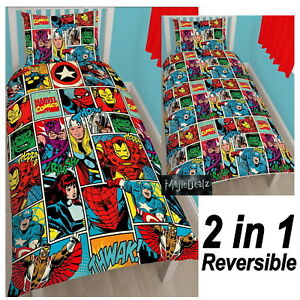 MARVEL COMICS STRIKE SINGLE DUVET COVER SET ROTARY KIDS BEDDING OFFICIAL NEW