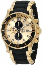 Invicta 1478 Men's Sea Spider Chronograph 18K Gold Plated and Black Watch