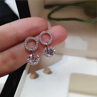 Gorgeous 925 Silver Round White Sapphire Circle CZ Dangle Earrings Jewelry UK