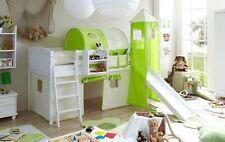 Rutschbett Hochbett Rutsche & Turm Kinderbett Kiefer massiv weiß Beige-Grün NEU