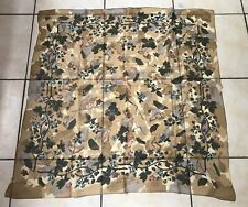 Vintage Laura Ashley 100% Pure Silk Chiffon Square Scarf Brown Taupe Leaf Leaves
