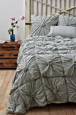 New Anthropologie Lazybones LIGHT GREY Rosette Queen Quilt