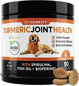 PETHONESTY USA Dog Turmeric Curcumin Arthritis Hip & Joint Supplement - 90 Chews