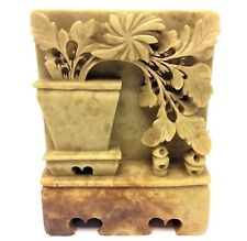 Antique Old Chinese China Carved Soapstone Single Bookend Book End Decorative