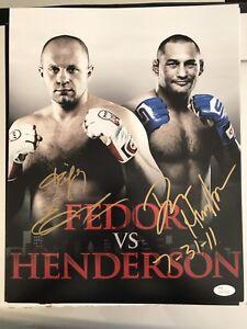 Fedor Emelianenko & Dan Henderson Dual Autographed MMA Fight 11x14 Photo JSA