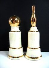 BOWLING Ball Pin Vintage SALT PEPPER SHAKERS Shimmering White Porcelain Glass