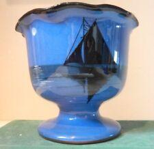 Vintage Torquay Ware  Barton Pottery Moonlit Boat Pattern Pedestal Bowl