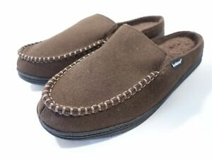 ISOTONER SIGNATURE MEMORY FOAM BROWN XL 11-12 FLANNEL FAUX FUR SLIP ON SLIPPERS