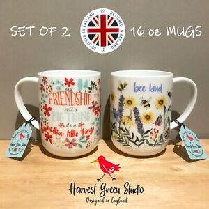SET OF 2 Harvest Green Studio Our Friendship, Bee Kind Mugs MADE IN ENGLAND