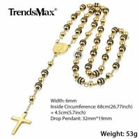 68cm Mens Stainless Steel Jesus Christ Cross Pendant Necklace Rosary Gold Chain