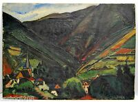 Jules Oscar Maes Oil/Panel Village Valley Landscape Mountain Sign 13x17 7/8in