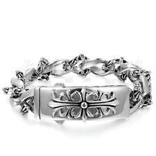 "Stainless Steel Fleur De Lis Cross Curb Chain Mens Cuff Bangle Bracelet 8.7"""