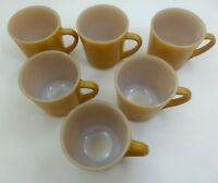 LOT 6 NOS Anchor Hocking CUPS Tan GOLD Coffee MUG Tea 1089 SET NEW Oven Proof 26