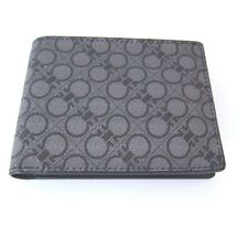 B-119122 New Salvatore Ferragamo Leather Black/Gray Logo Print Bifold Wallet