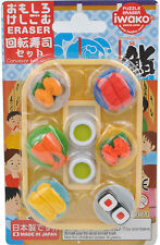 NEW iwako Japanese Conveyor Belt Sushi Design Eraser Set of 6 Made in Japan