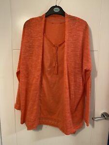 Next Ladies Coral Top & Cardigan Set Size 14