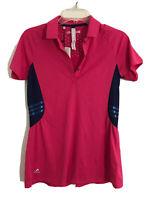 NWT Women Adidas Golf Tour Climatchill  Polo Shirt  pink pelpum back Size S 1044