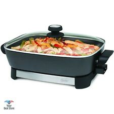 Electric Skillet Stainless Steel Portable Cooking Pan Countertop Stove With Lid