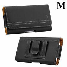 "T-Mobile Revvlry (5.7"") - Black PU Leather Pouch Belt Clip Holster Holder Case"