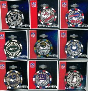 NFL Poker Chip Pin Choice 9 Pins Choose Pin PDI New on Card Raiders Bills Giants