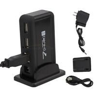 New 7 Ports Hi-Speed USB 2.0 Hub +Power Adapter for PC Laptop computer Black