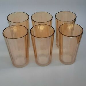 Vintage Orange Peach Iridescent 6 Drinking Glasses  Rippled Barware
