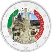 2 Euro Gedenkmünze Italien 2021 coloriert  mit Farbe / Farbmünze Rom / Roma 2