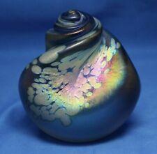 Maytum Studio Iridescent Purple Art Glass Seashell Swirl Paperweight