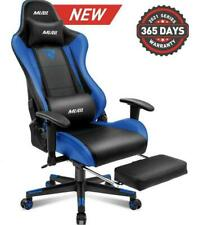 Computer Gaming Chairs Swivel High-back Racing  Footrest Office Leather Blue