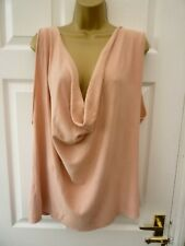 Ladies Size 22 24 Pink Cowl Neck Sleeveless Casual Boho Knit Jersey Tunic Top