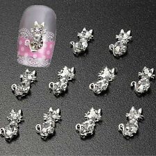10 Pcs 3D Cat DIY Decoration Rhinestone Nail Art tips Glitters Stickers Frugal