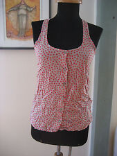 Splendid Made in USA Red Polka Dot Racer Back Rayon Button Front Shirt Top XS