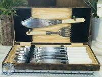 VINTAGE FISH KNIFES & FORKS SERVING KNIFE & FORK BOXED SET FLAT WARE