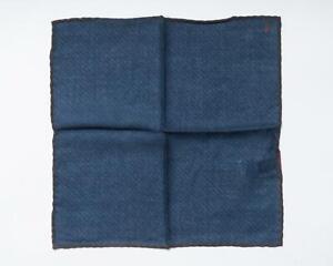 "Isaia NWT Navy Blue Striped Brown Border Virgin Wool Yak Pocket Square 12"""