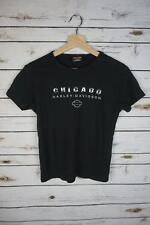 Harley-Davidson Chicago Chrome Women's Small Black Graphic Short Sleeve Shirt