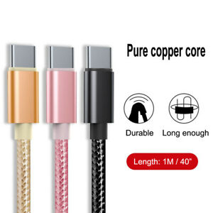 """1m/40"""" Fast Charging Mobile Phone USB C Type C Data Line Nylon Charger Cable"""