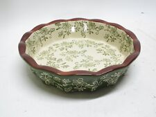Temptations Hand Painted 9'' Round Baking Pie Dish Floral Lace Shamrock Green