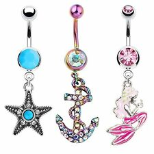 Belly Piercing Ring Anchor Starfish Mermaid Navel Body Jewelry Pack 3-Piece