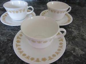 CORELLE BUTTERFLY GOLD SET OF THREE FLAT BOTTOM CUPS AND SAUCERS