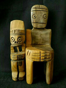 PRIMITIVE, TRIBAL - TWO (2) HANDCARVED, HARD TWO-TONE WOOD SEATED FIGURES