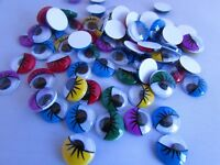 Colour Joggle goggle eyes With Lashes  10mm glue on in packs of 20, 50,100