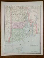 "Vintage 1901 RHODE ISLAND Map 11""x14"" ~ Old Antique Original CRANSTON PAWTUCKET"