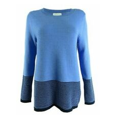 Charter Club Women's Plus Size XXL 2XL Sweater Blue Ribbed Striped Pullover