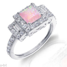 White Gold Princess Cut Promise Engagement Pink Fire Opal CZ Silver Ring