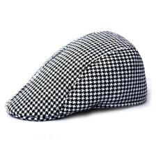 b63b29c4bc0a6 Kids Toddler Houndstooth Beret Boys Cap Casquette Flat Peaked Sun Hat Black